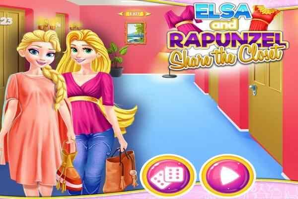 Play Elsa and Rapunzel Share the Closet
