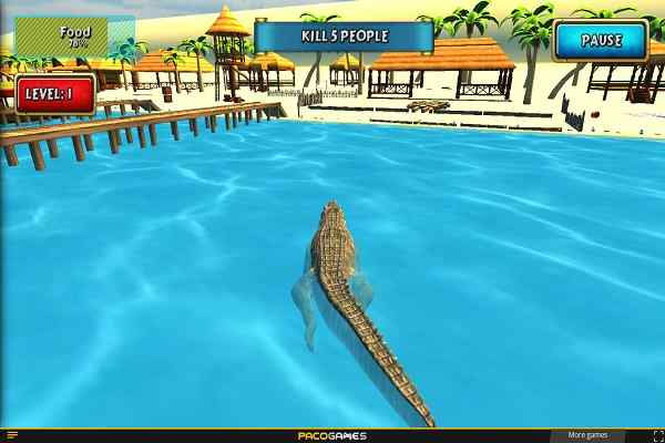 Play Crocodile Simulator Beach Hunt