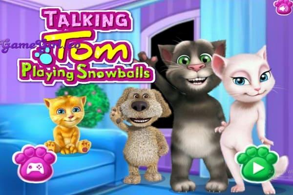 Talking Tom Playing Snowballs Dressing Games Play Online Free Atmegame Com