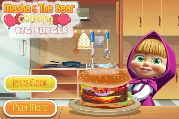 Play Masha cooking Big Burger